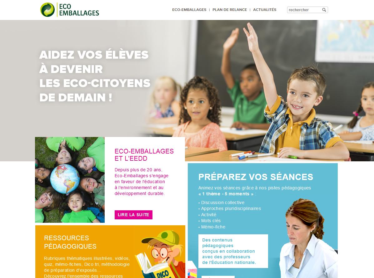 Capture d'écran site internet Eco emballage, espace enseignants